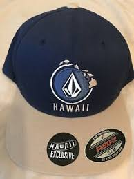 Details About Mens Nwt Volcom Hawaii Exclusive Blue And Tan Flexfit Hat Fitted Cap Size S M