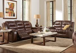 rooms to go leather reclining sofa veneto brown leather 5 pc living room with reclining sofa