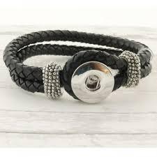 21cm black leather braided noosa style snap bracelet noosa style snap jewel