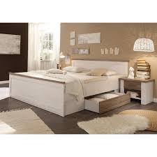 Bett Pinie Weiß Mit Nachtkonsolen 180x200 Cm