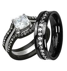 His And Hers Black Diamond Wedding Sets
