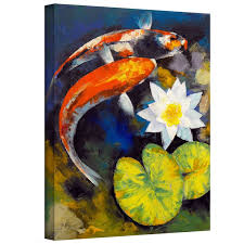 koi fish and water lily by michael creese painting print on wrapped canvas
