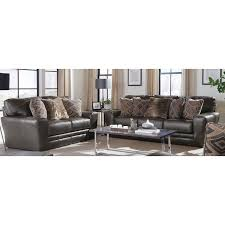 classic steel gray leather 2 piece living room set denali rc willey furniture