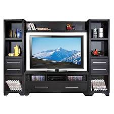 black entertainment units large black wooden wall unit entertainment center with racks and glass doors on