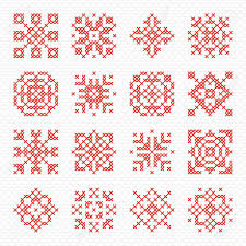 Blank Snowflake Template Set Of Cross Stitch Element For Embroidery Design Decorative