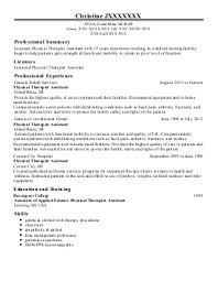 Sample Resume For Physical Therapist Assistant Physical Therapy