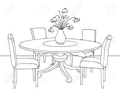 dining room table clipart black and white. Stunning Part Of The Dining Room Round Table And Chairson For Clipart Black White Trend Inspiration