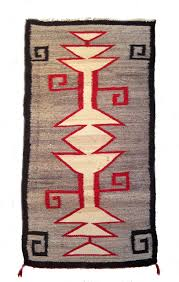 navajo crystal pattern rug with hooks in corners unusual fringe on one end made in 1920s 38 long 18 1 2 wide color good on both sides