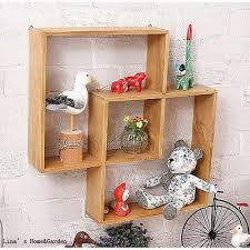 solid wood intersecting wall shelf