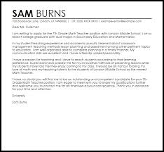 Example Cover Letter For Teaching Position Math Teacher Cover Letter Sample Cover Letter Templates