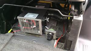 our promaster 159 diesel family truckster and toy hauler page 2 it s wired directly to the battery a big fuse of course it s a 50a circuit you can see where i wired the second row speakers in the first picture
