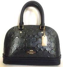 New Coach Mini Sierra Satchel Embossed Patent Leather Domed Handbag Black  NWT