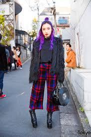 purple hair fig viper faux fur coat plaid pants g2 vinyl record bag in harajuku