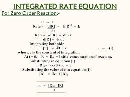 9 integrated rate equation for zero order reaction