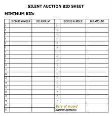 Auction Spreadsheet Template Silent Bid Sheet Sheets 6