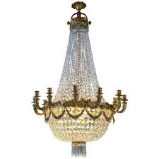 antique louis xvi style bronze and crystal basket form chandelier for