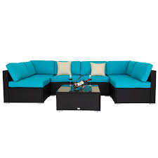 Kinbor 7pc Patio Sofa and Table Set Outdoor Indoor Sectional