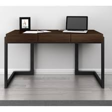 desk metal office with drawers dark wood hutch wooden computer table small grey and file cabinet