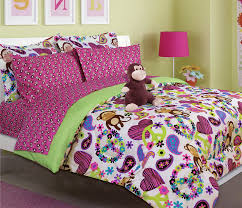 girl full size bedding sets amazon com girls peace love and monkey print comforter set with
