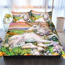 sleepwish unicorn duvet cover horse flowers fairytale bedding 3 pieces green plant bed set for s