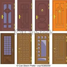 clic interior and front wooden doors vector