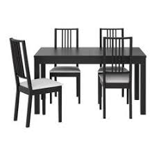 4 chair kitchen table: bjursta barje table and  chairs brown black gobo white length