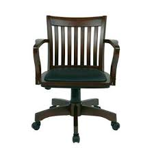 Espresso WoodBrown Bankers Chair With Padded Seat Wooden Swivel Desk Chair D47