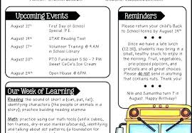 Daycare Newsletter Templates Sample Elementary Classroom