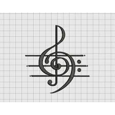 Music Art Treble Clef Musical Note Embroidery Design In 2x2 3x3 4x4