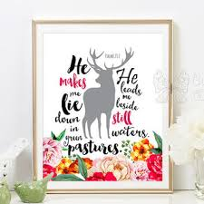 es printable art fl wall decor deer silhouette psalms 23 2 inspirational e
