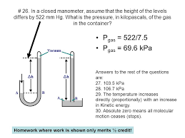 manometer chemistry. in a closed manometer, assume that the height of levels differs manometer chemistry m