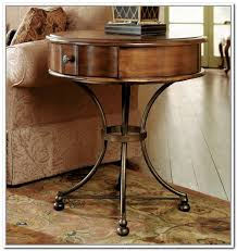 round end table with storage iron wood