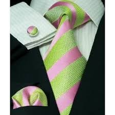 Pink and Green striped tie, cuff links or button covers, and pocket square  or