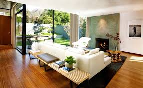 santa barbara console tables behind sofa with gas fireplace inserts living  room midcentury and walnut stools