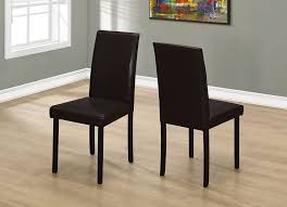 monarch specialties solid wood brown parsons armless dining chairs wth dark brown faux leather seats set of 2