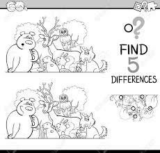 黒と白の漫画イラスト塗り絵の野生動物のキャラクターと子供の違い教育アクティビティ タスクを見つける