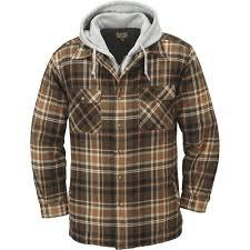mens fleece lined hooded flannel shirt