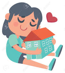 New Home Cartoon Images Vector Illustration Of A Cartoon Girl Holding And Loving Her