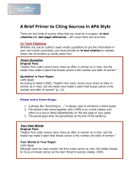 A Brief Primer To Citing Sources In Apa Style