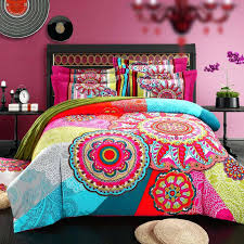 brushed cotton bohemian bedding sets 4pcs queen king duvet cover set bedlinen bedclothes beautiful bedding girl boho