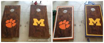 Wooden Corn Hole Game Football Friday DIY Corn Hole Game The Happier Homemaker 68