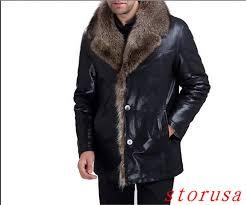 details about mens jacket mens real fur coat fur lined leather sheepskin coats plus size s 5xl