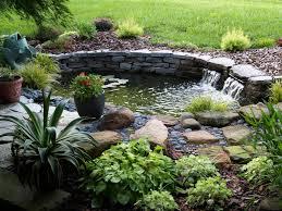 Lawn & Garden:Beautiful Backyard Pond Design With Stone Waterfall And  Pretty Purple Flower Ideas