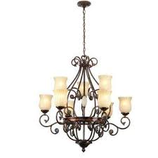 freemont collection 9 light hanging antique bronze chandelier with glass shades