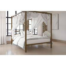 Queen Canopy Bed Frame with Metal Headboard Black Bedroom Furniture ...