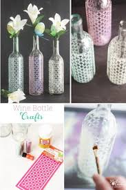 collage image of the wine bottle craft to make diy glitter vases out of wine bottles