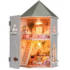 dollhouse diy kit toys for children wooden miniature doll house with furnitures assembling scale model