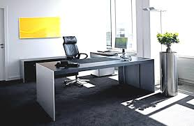 office design interior. Enticing Hi Tech In Interior Design With Gray White Wooden Rectangle Office Desk On The Black