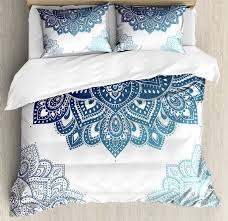 henna queen size duvet cover set south asian mandala design with vibrant color ornamental ethnic ilration decorative 3 piece bedding set with 2 pillow