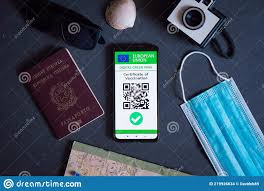 Eu Covid Digital Green Certificate Pass on the Screen of a Mobile Phone  with Qr Code and Face Mask. the European Union Covid19 Stock Photo - Image  of document, immunity: 219926634